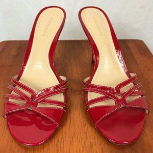 Ann Taylor Red Leather High Heel 8M Shoes Open Toe